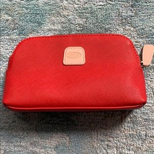 Bric's Red Leather Cosmetic Case